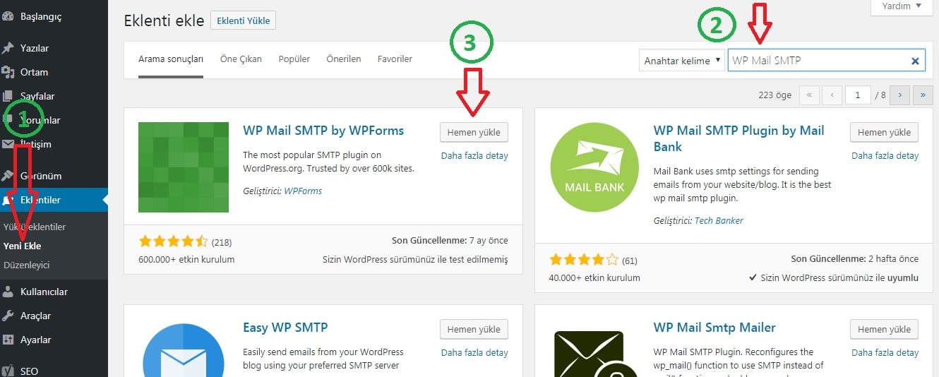 wordpress smtp mail kurulumu