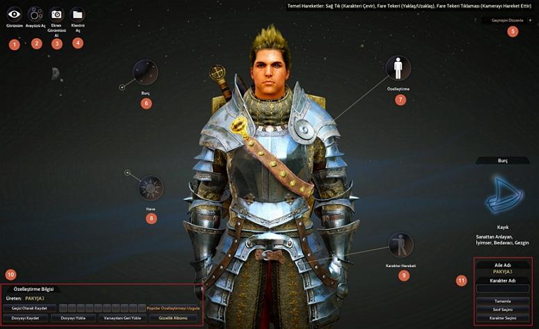 detaylı karakter özelleştirme