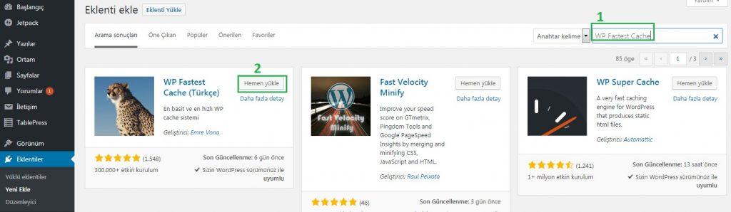 wp-fastest-cache-kurulumu-nasıl-yapılır