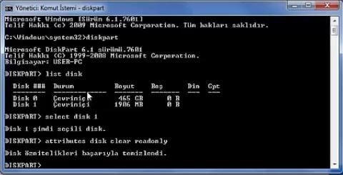 Disk yazma korumalı biçimlendirilemiyor