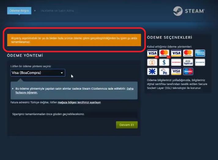 Steam görünüşe göre son birkaç saat içinde çok fazla satın alım girişiminde bulundunuz hatası çözümü