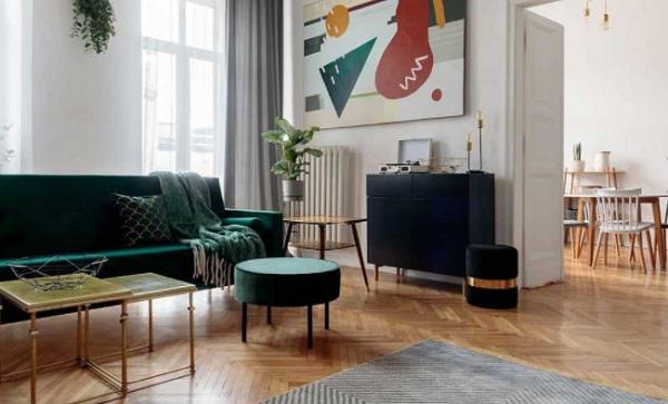 Yeşil koltuklara uygun duvar rengi
